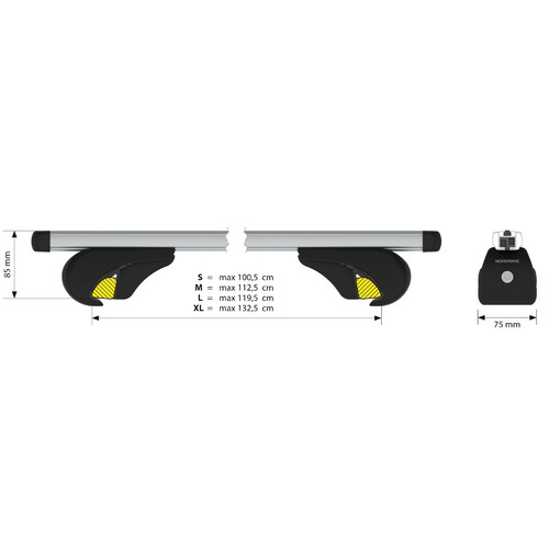 Yuro, aluminium roof bars, 2 pcs - L - 127 cm 2