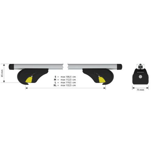 Yuro, coppia barre portatutto in alluminio - XL - 140 cm 2