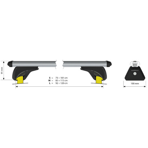 In-Rail Alu, aluminium roof bars, 2 pcs - S - 108 cm 5
